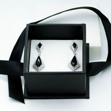 New,150 Diamond & Black Onyx Statement Earrings, total of 3.57cts VS / G Diamonds, 18ct White Gold