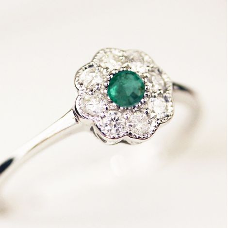New White Gold Emerald and Diamond Daisy ring