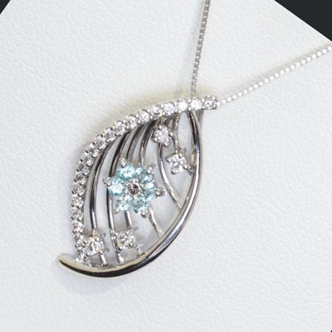 topaz and diamond wing necklace