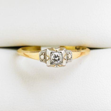 Yellow Gold Diamond Ring, 3 Stone Diamond Engagement Ring, Platinum Engagement Ring, Geometric Style Engagement Ring, Square Platinum Collet Engagement Ring