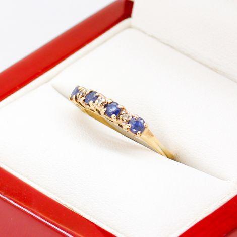 Vintage Sapphire and Diamond Half Hoop Ring Band, Four Sapphires and Diamond Ring