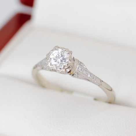 Vintage Diamond Engagement Ring, Lovely Setting White Gold Diamond Engagement Ring, Bead Set Diamond Ring, Vintage Engagement Ring, White Gold Vintage Diamond Engagement Ring, Rub Over Set Diamond Engagement Ring, Hand Made Diamond Engagement Ring, Sydney