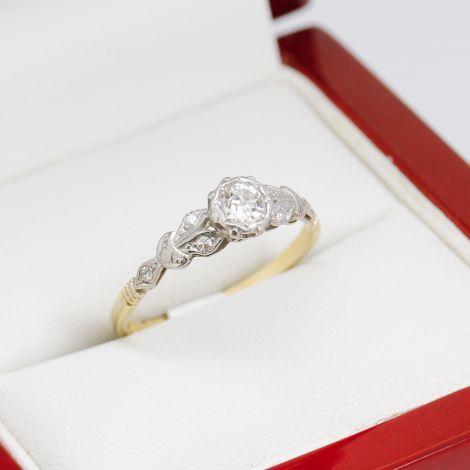 Platinum Engagement Ring, Illusion Setting Diamond Engagement Ring, Sydney Vintage Jewellery, Sydney Vintage Engagement Rings, Vintage Diamond Engagement Ring, Two-Tone Engagement Ring, Illusion Set Engagement Ring, Yellow Gold Diamond Ring,