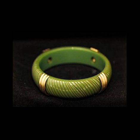 Art Deco era Bakelite Carved Bangle with gold metal detail.  Vintage Olive green Bakelite bangle.