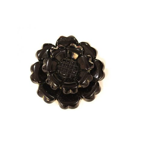 Lovely Ebony Black Vintage Hand Carved Black Bakelite Flower Brooch