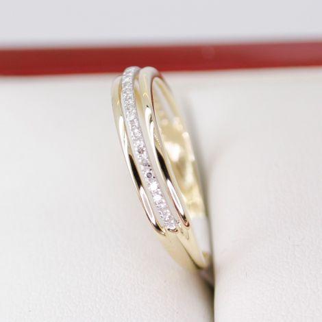 Yellow Gold Diamond Cutout Wedding Band