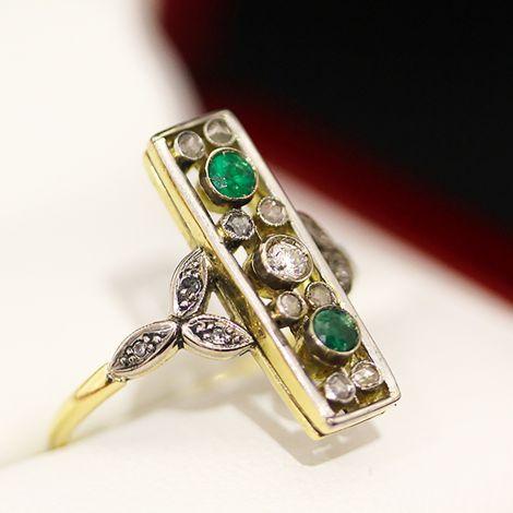 Diamond and Emerald Victorian ring featuring an European cut Diamond