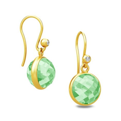 Gorgeous Sweet Pea drop earrings with faceted Green Amethyst stones