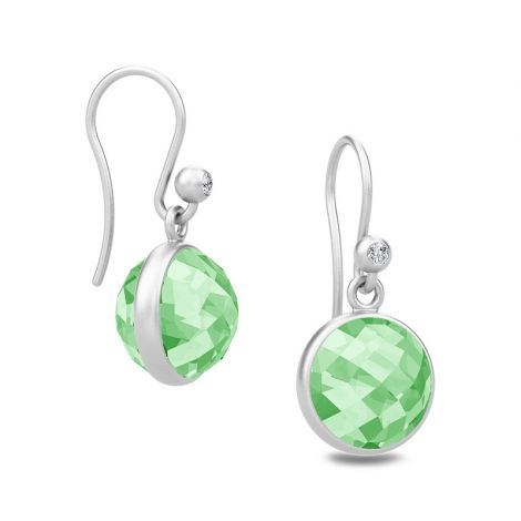 Faceted Green Amethyst Sweet Pea drop earrings in Rhodium