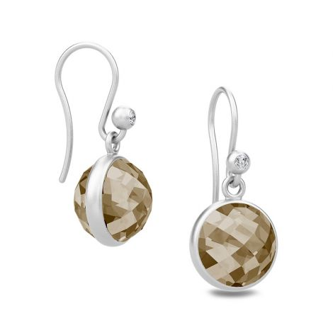 Gorgeous Sweet Pea drop earrings with faceted Smokey crystal stone