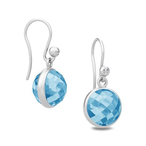 Lovely Sweet Pea silver drop earrings with faceted Blue Zircon stones