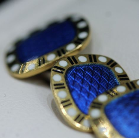 18 carat Antique Gold Cufflinks with two sided Guilloche Enamel Cartouche, c1930's
