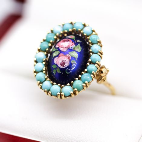 Victorian Antique Ring with Enamel Floral pattern