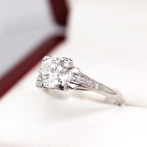 Art Deco Platinum Engagement Ring with 1.06ct VS2 / G Diamonds.