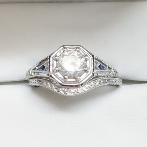 Sold -Art Deco Filigree Diamond and Sapphire Engagement Ring and custom wedding band set