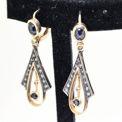 Art Deco Antique Earrings with Blue Sapphire Cabochons and Rose Cut Diamonds, VS1-SI, Chandelier Earrings, Sapphire Earrings