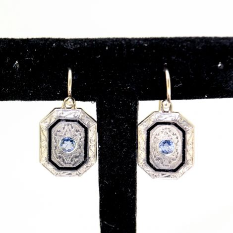 Antique earrings, Vintage Earrings, Sapphire Earrings, Diamond Earrings, Estate Earrings