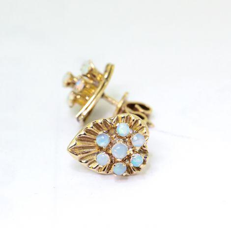 Vintage Opal Leaf earrings, C1960s, Yellow Gold, substantial earrings, Handmade