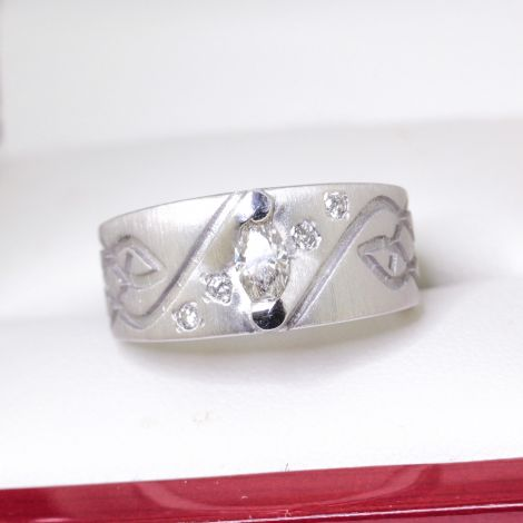 Vintage Wedding Band or Dress Ring with Marquise Diamond set in Matt Palladium,  Wide and Flat Tapered, very special