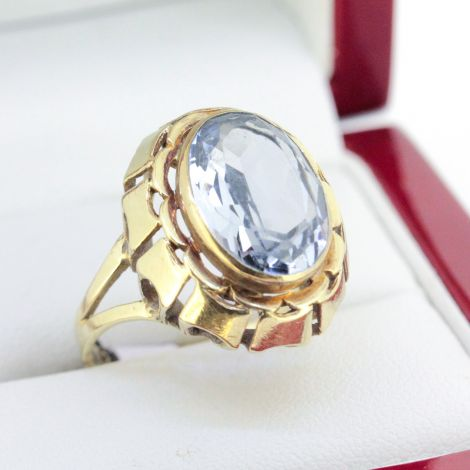 Vintage Cocktail ring with an Oval Shaped Blue Spinel set in a handmade setting.
