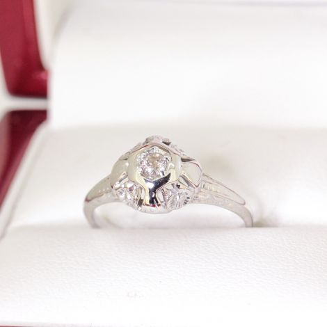 Vintage Petite engraved filigree Diamond Engagement Ring, 14ct white gold,Art Deco era