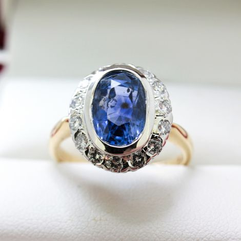 Art Deco, Vintage Sapphire and Diamond Engagement Ring / Dress Ring, C1940's