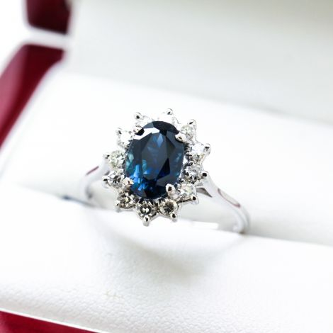 Beautiful Sapphire and Diamond Halo Ring in 14ct White gold, Engagement Ring or Dress ring