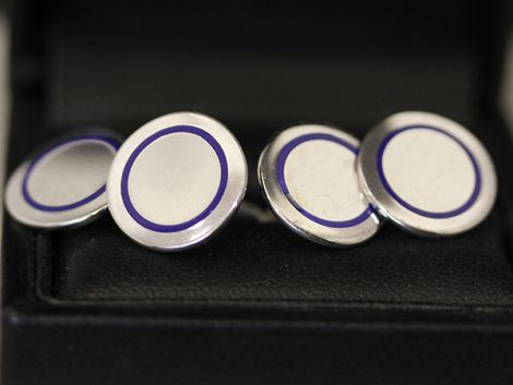 Tiffany & Co men's Sterling silver vintage cufflinks, with blue enamel detailing.