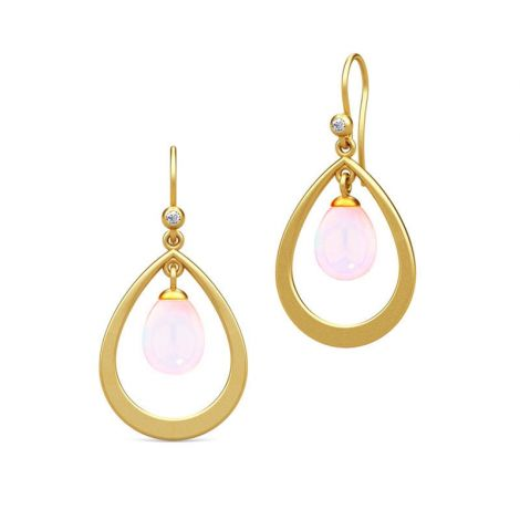 Gorgeous gold hoop earrings with Pink translucent oval drop (