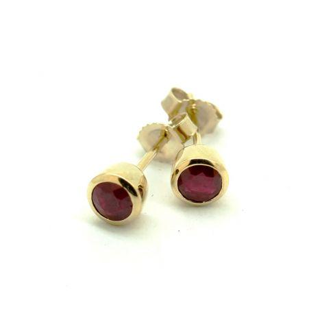Ruby Earrings, Yellow Gold Earrings, Stud Earrings, Birthstone Earrings, Women Earrings,
