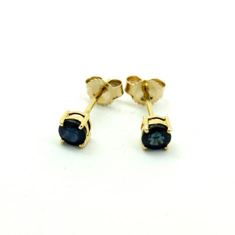 Vintage Times Yellow Gold Sapphire Stud Earrings