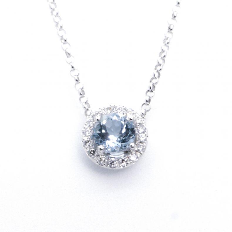 23a9c778b Estate Age Aquamarine and Diamonds White Pendant at Vintage Times