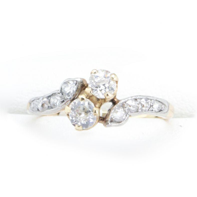 Art Deco Antique Diamond Engagement Ring Crossover 14ct Gold