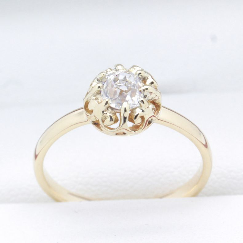 Antique Yellow Gold Ring With Old Cut Diamonds Order Now