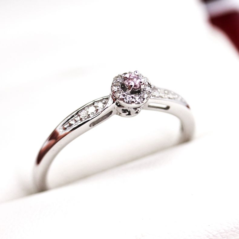 Vintage Pink Diamond Engagement Ring In White Gold Vintage Times