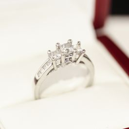 White Gold 13 stone Diamond Engagement ring, featuring 4 princess cut Diamonds.